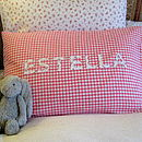 Personalised Girl's Gingham Pillowcase