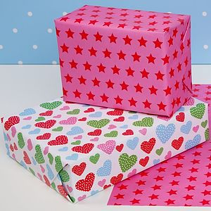 Multi Hearts Wrapping Paper Double Sided - cards & wrap