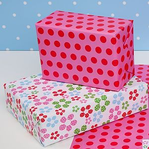 Multi Flowers Double Sided Wrapping Paper - winter sale