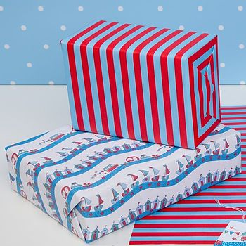 Seaside Double Sided Wrapping Paper