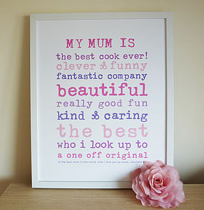 'My Mum' Personalised Print - gifts from younger children