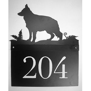 German Shepherd House Number Plate