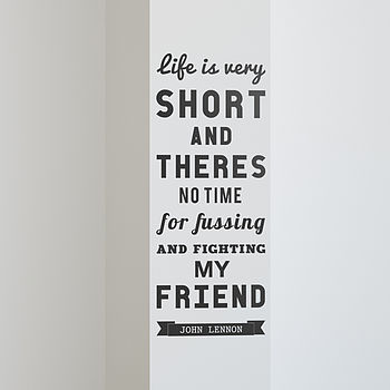 'Life Is Very Short' Quote Wall Sticker