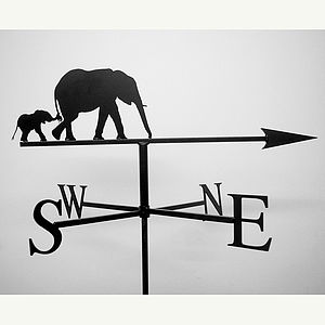 Elephants Weathervane - sculptures & ornaments