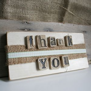 Vintage Style 'Thank You' Sign - room decorations