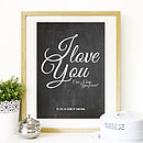 Personalised 'I Love You' Typographic Print