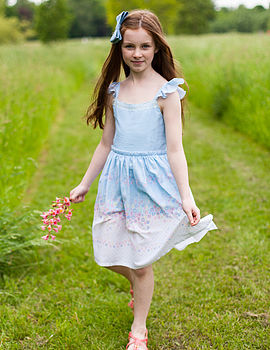 English Floral Frill Dress With Lace Detail