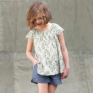 Girl's Liberty Print Floral Gathered Top