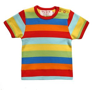 Multi Stripe Organic Short Sleeve T Shirt