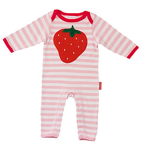 Organic Strawberry Applique Sleepsuit - babygrows