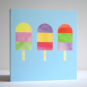 Pack Of Five Ice Lolly Greetings Cards - birthday cards