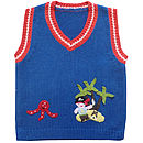 Knitted V Neck Jumper With Pirate Applique