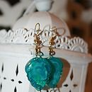 Lahra Turquoise Leaf And Jade Glass Earrings
