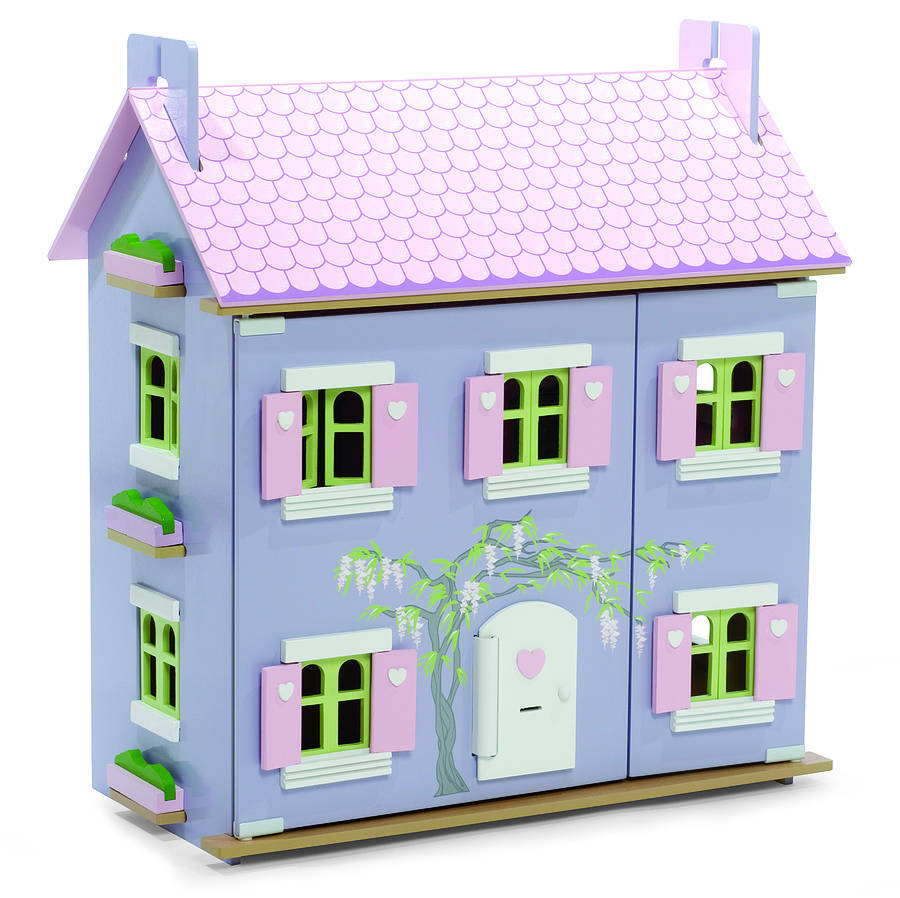 lavender dolls house with furniture by hibba toys of leeds. Black Bedroom Furniture Sets. Home Design Ideas