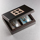 Black Wood Box with Duck Egg/Slate Grey Cards