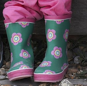 Green Peaflower Wellyboots - footwear