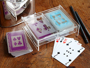Perspex Box With Two Packs Of Playing Cards - cars & trains