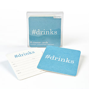 Hashtag Drinks Coaster Invitations - adults party invitations