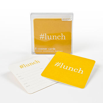 Hashtag Lunch Coaster Invitations