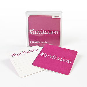 Hashtag Invitation Coaster Invitations