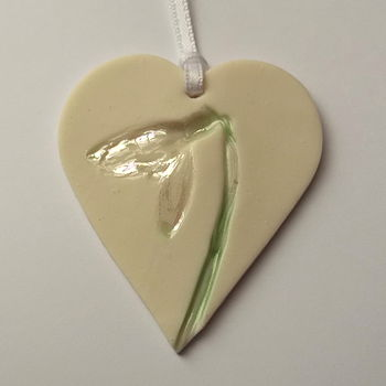 Handmade Hanging Heart Decoration With Snowdrops
