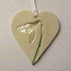 Handmade Hanging Heart Decoration With Snowdrops - decorative accessories