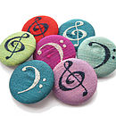 Treble Clef Freehand Embroidered Silk Pin Badge