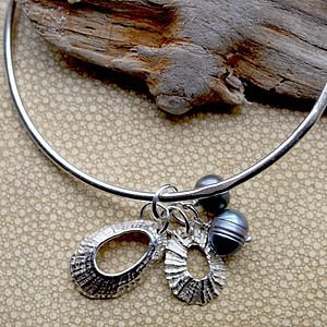 Pearl And Shell Charm Bangle