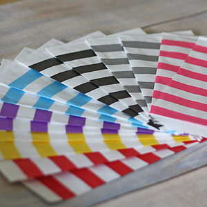 Pack Of 20 Stripe Paper Bags - children's parties