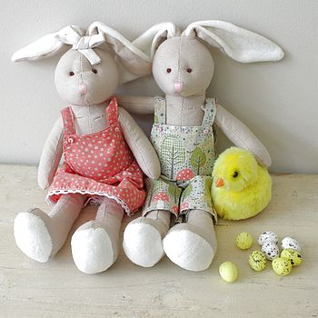 Pair Of Easter Country Bunnies