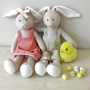 Pair Of Easter Country Bunnies - toys & games