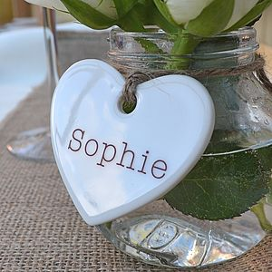 10 Personalised Name Hearts - place card holders