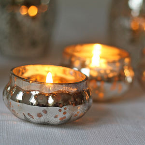 Mini Mercury Silver Tea Light Holder - dining room