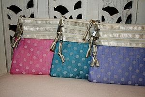 Silk Dotty Cosmetic Purse Various - make-up bags