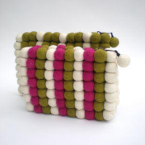 Woolen Ball Purse And Clutch Bag - make-up bags