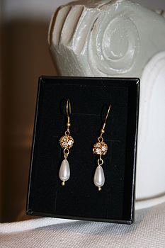 Angelica Crystal Pearl Double Drop Earrings