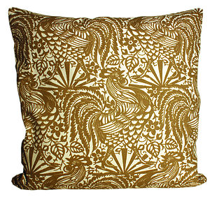 Taupe Cockerel Cushion - patterned cushions