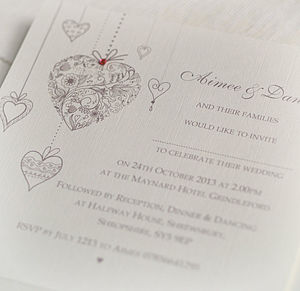 Hearts Personalised Wedding Invitations - wedding stationery