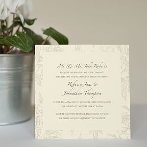 Peonies Layered Wedding Invitations - wedding stationery