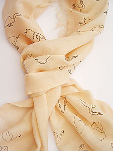 Hand Printed Swan Scarf - scarves & gloves