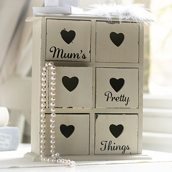 'Mum's Pretty Things' Heart Drawers Chest