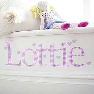 Personalised Pink Gingham Wall Letter Sticker - baby's room
