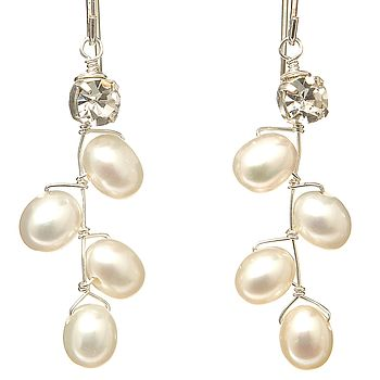 Fern Pearl Leaf Drop Earrings