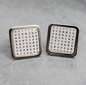 Personalised Wordsearch Cufflinks - men's jewellery