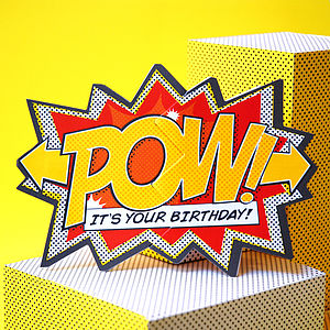 'Pow!' Comic Cracker Card - birthday cards