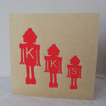 Personalised Birthday Card Robot Family