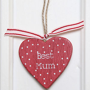 'Best Gran' or 'Best Mum' Wooden Heart