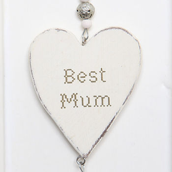 Wooden 'Best Mum' Hanging Heart