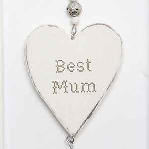 Wooden 'Best Mum' Hanging Heart - living room