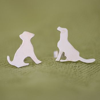 Silver Dog Stud Earrings